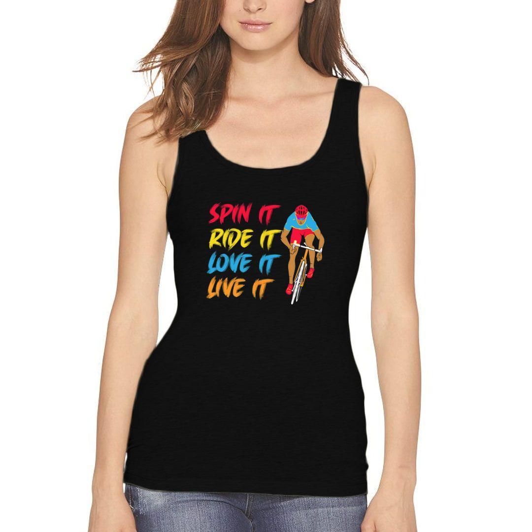 Df3c09a8 Spin It Ride It Love It Live It Cyclist Racer Road Bike Women Tank Top Black Front