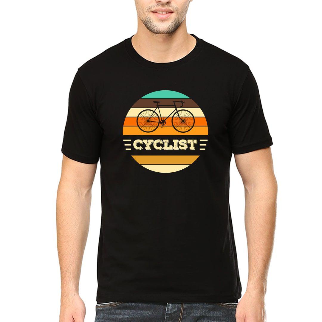 E2d24c65 Cyclist Vintage Colourful Men T Shirt Black Front