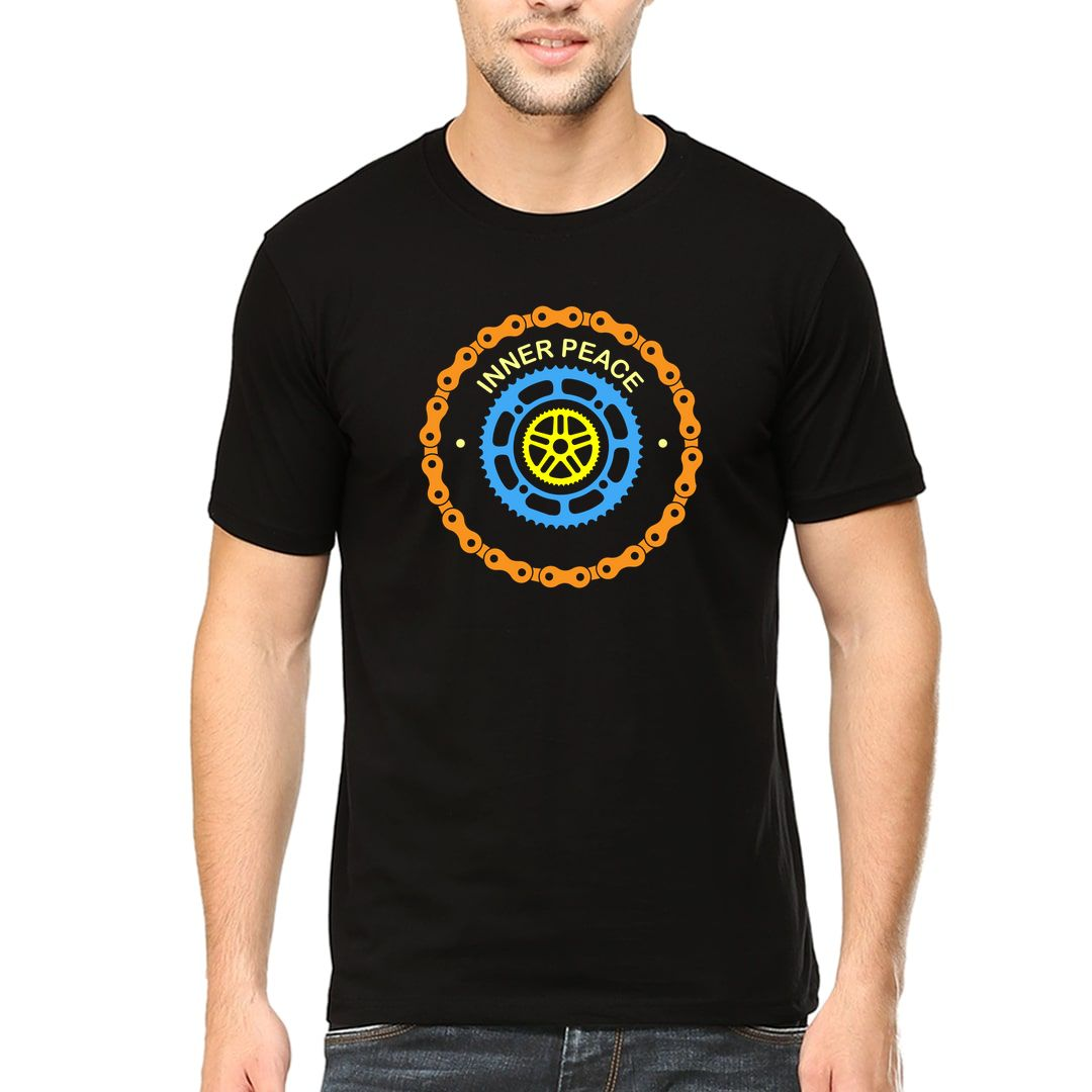 F41e491b Cycling Is My Inner Peace Chain Sprocket Logo Crest Men T Shirt Black Front