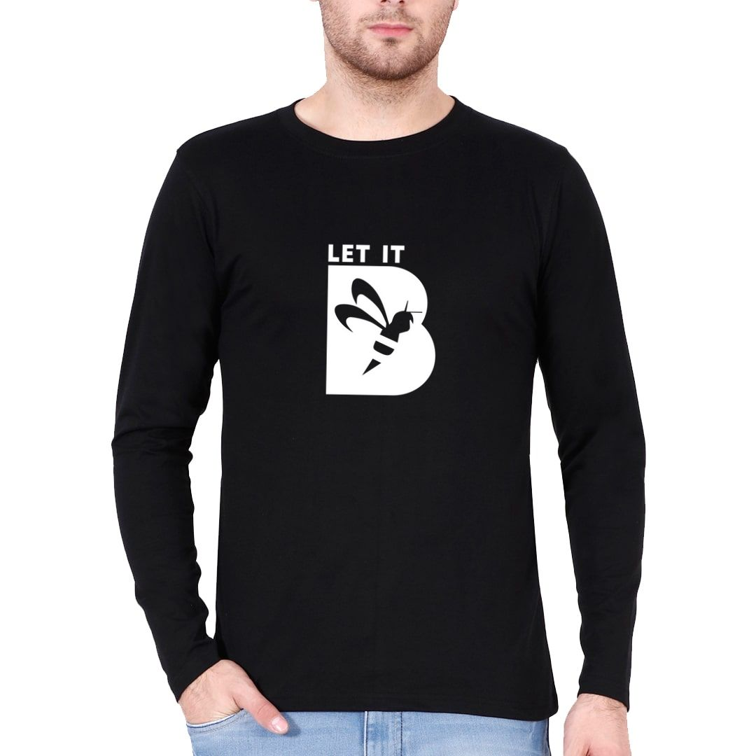 27694a92 Let It Bee Let It Be Full Sleeve Men T Shirt Black Front