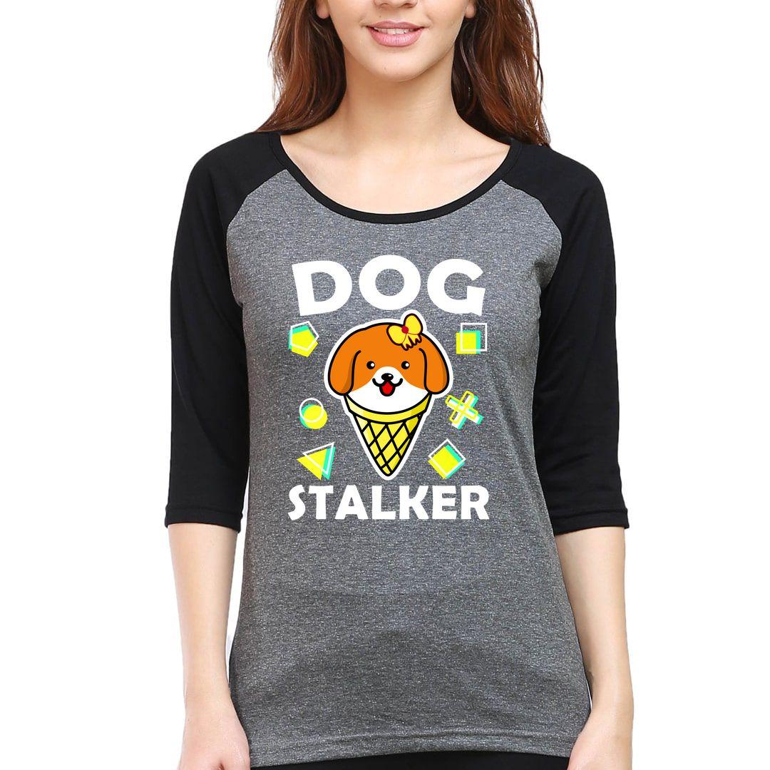 37d782b0 Funny Dog Corgi Pet Lover Women Raglan Elbow Sleeve T Shirt Black Charcoal Front