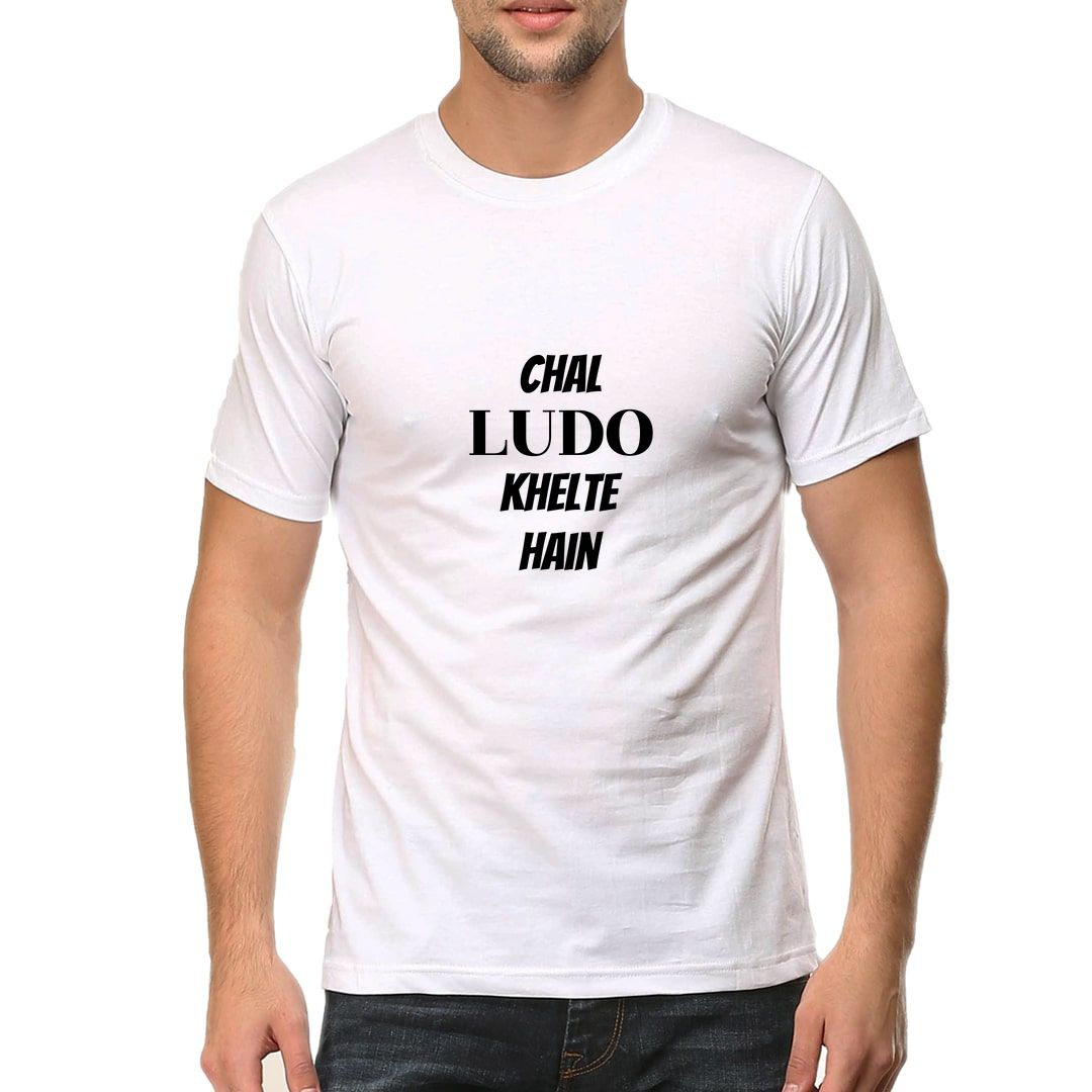 40f6a5b0 Chal Ludo Khelte Hai Men T Shirt White Front