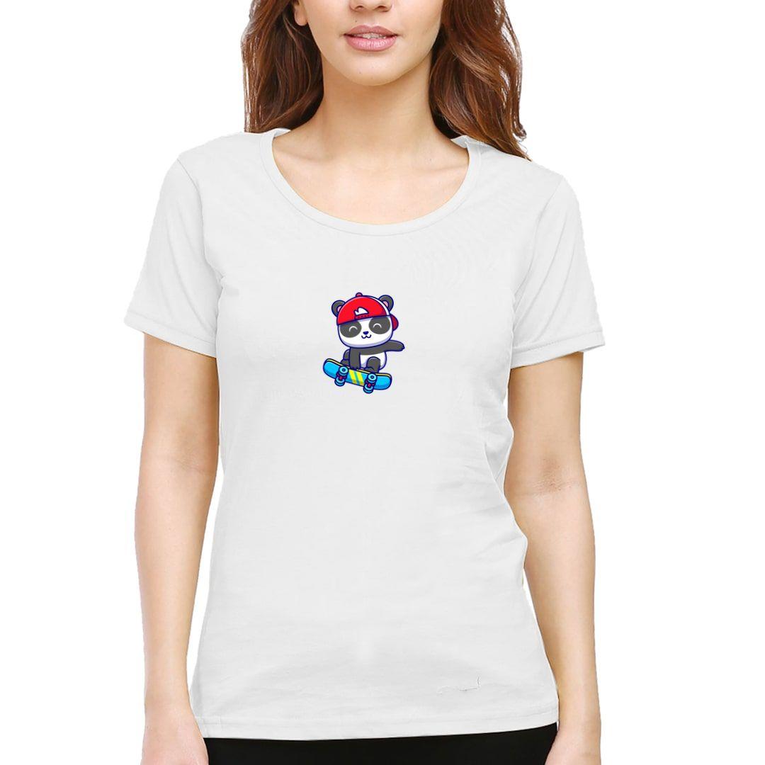 4795ffc3 Cute Panda Women T Shirt White Front
