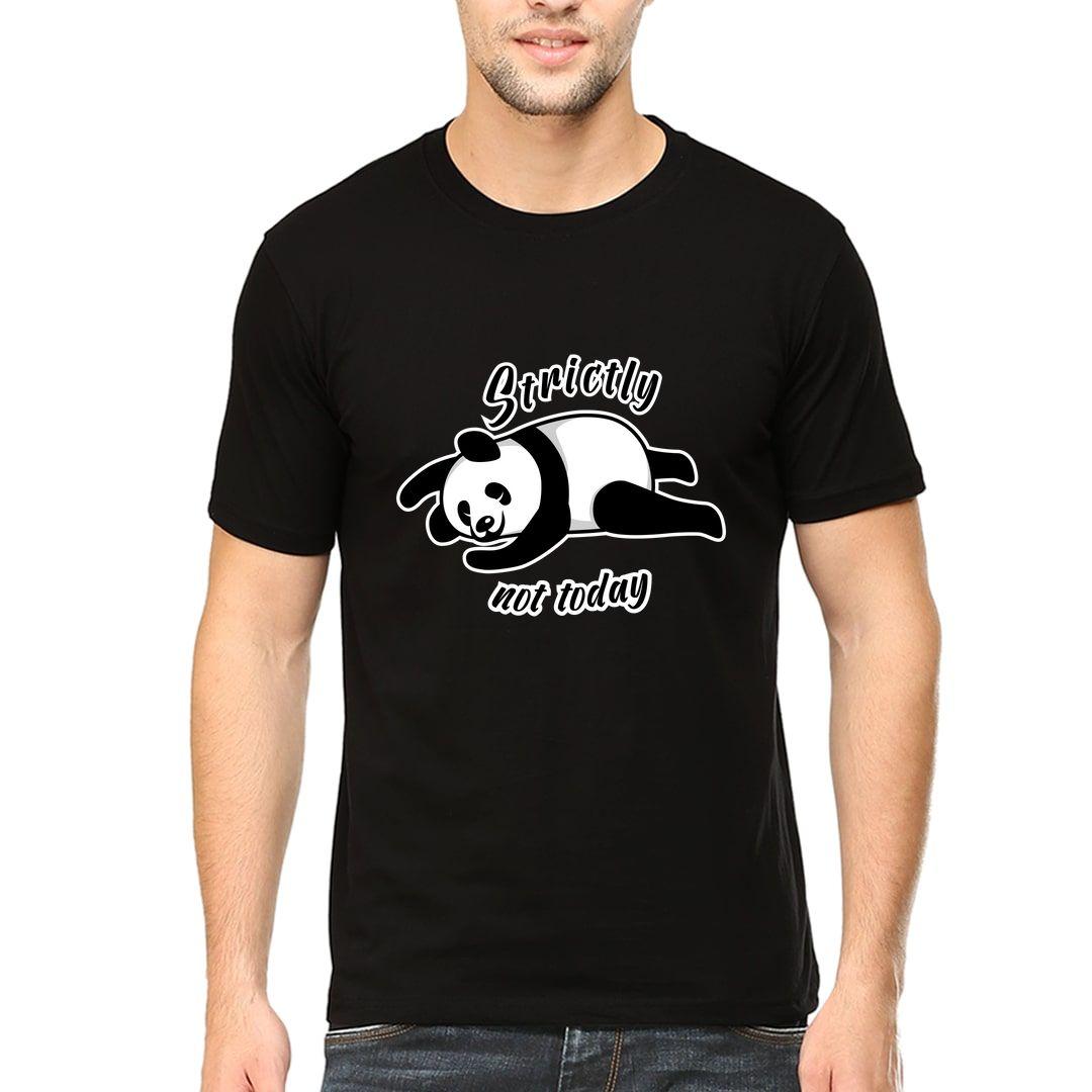 6e05b633 Panda Strictly Not Today Men T Shirt Black Front