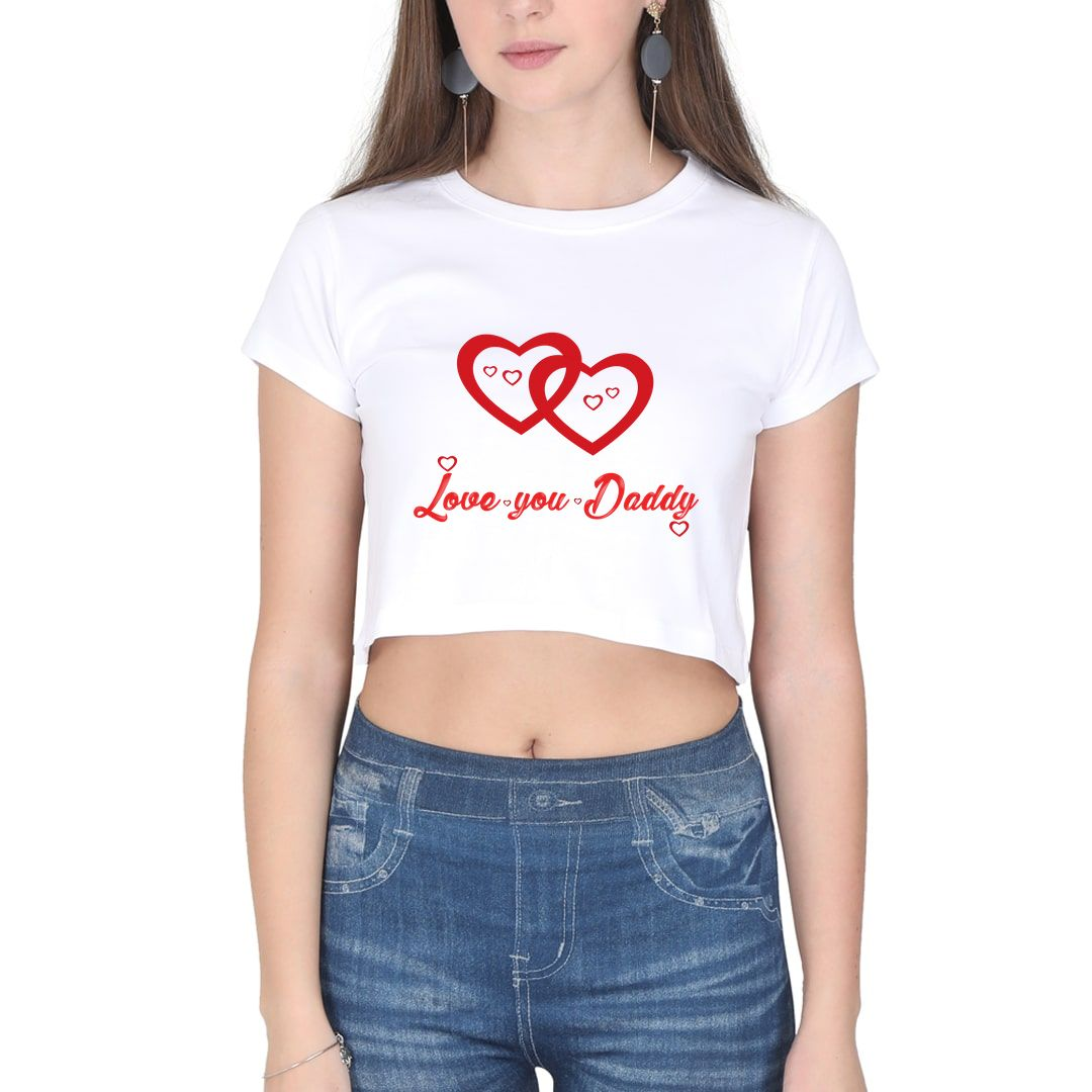 72f46989 Love You Daddy Women Crop Top White Front