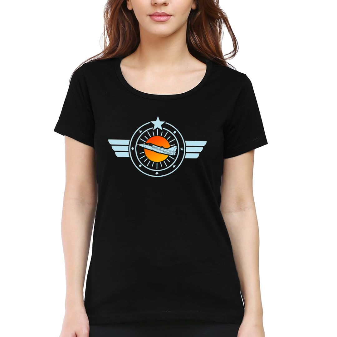 889edfa9 Mark One Fighter Jet For Air Force Tejas Enthusiasts Women T Shirt Black Front