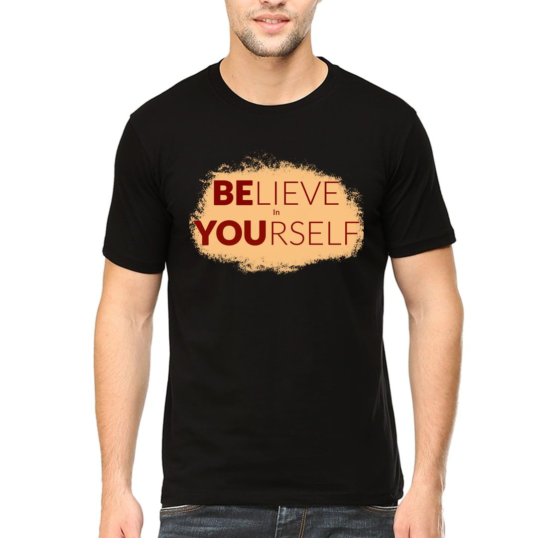 9a5adcf1 Believe In Yourself Confidence Motivation Quote Men T Shirt Black Front