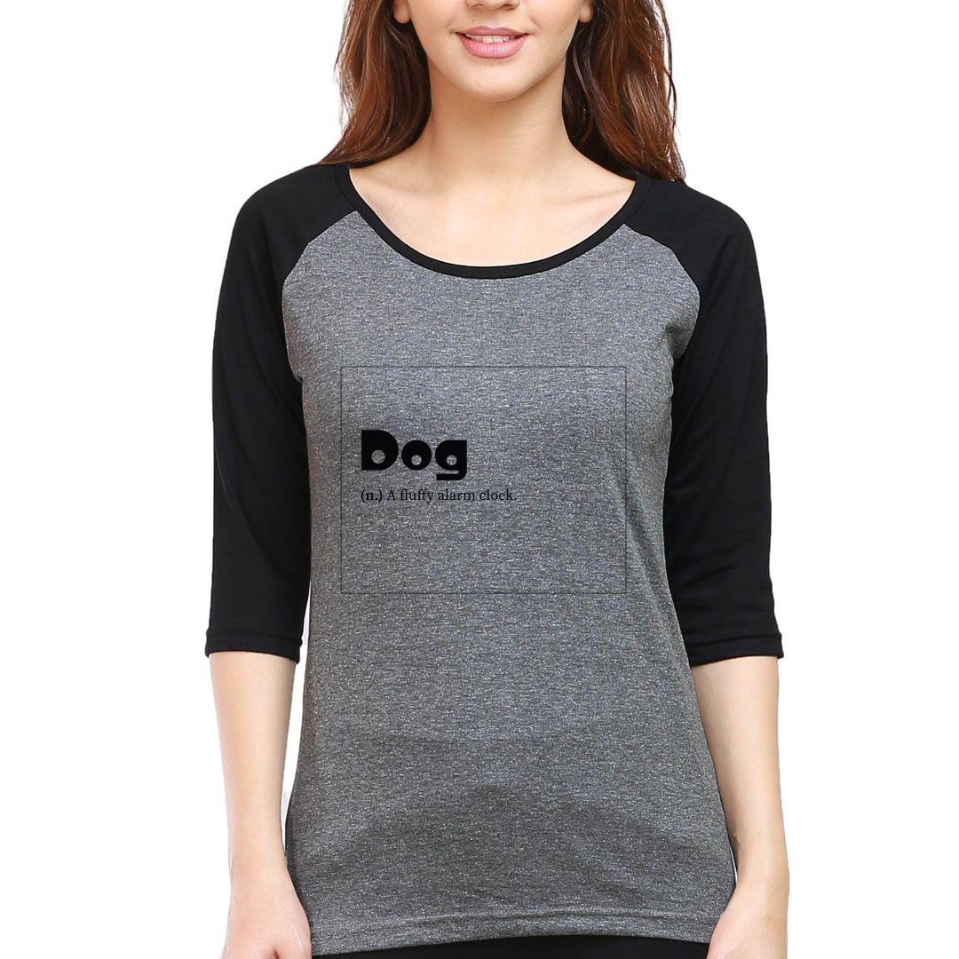 B25201cc Dogie Women Raglan Elbow Sleeve T Shirt Black Charcoal Front