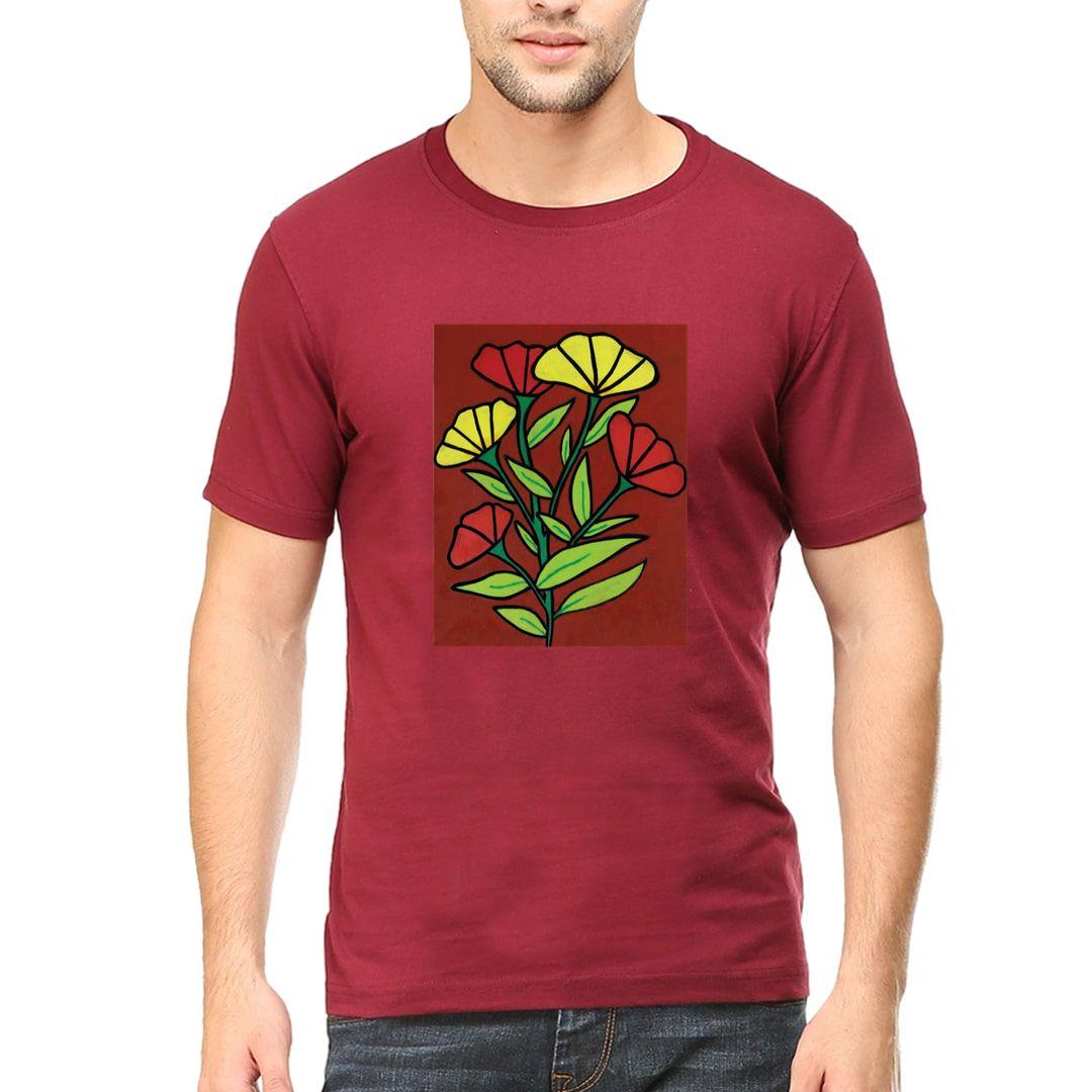 E5c56e18 Festive Beauty Men T Shirt Maroon Front