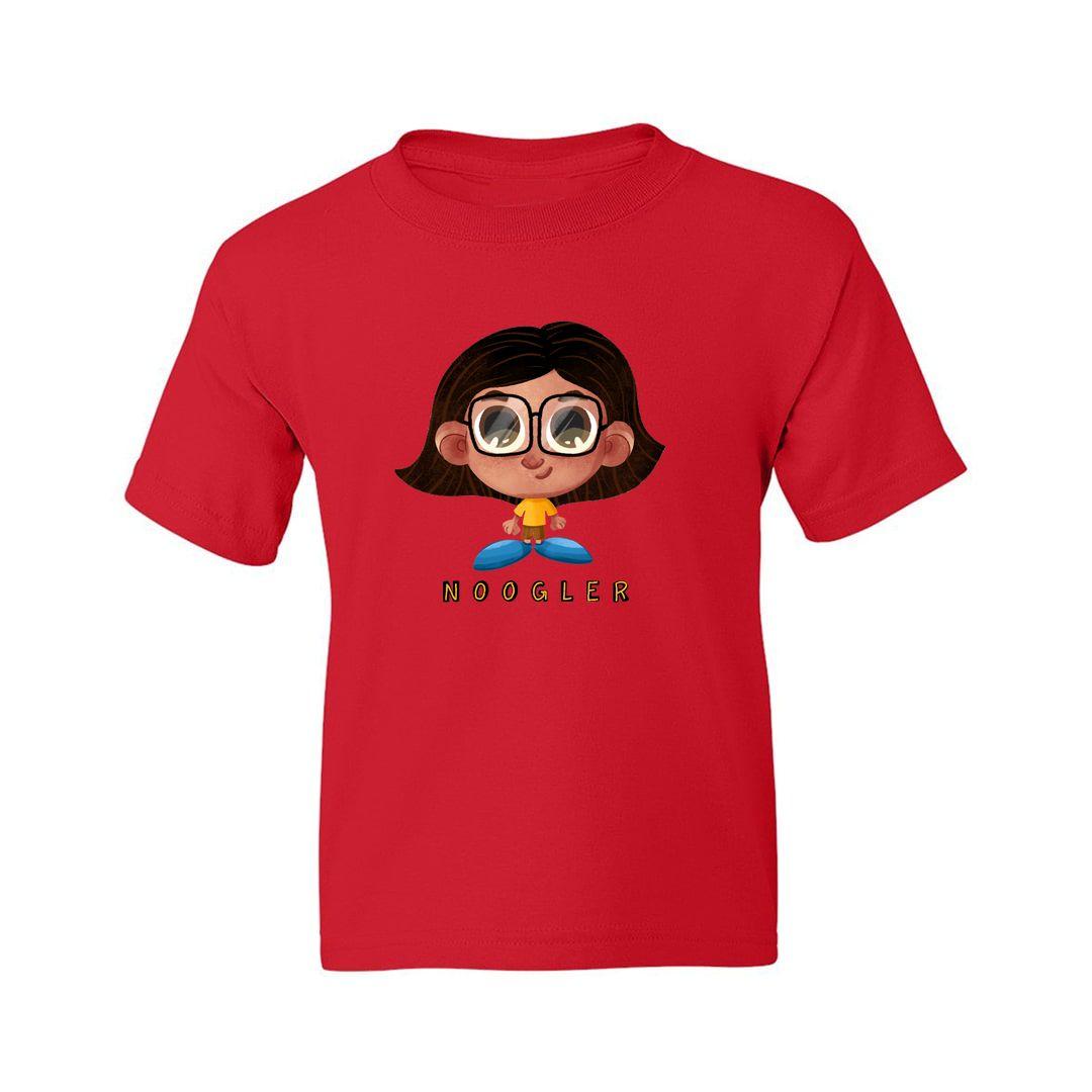 Fdaffe38 Noogler Girl Kids T Shirt Red Front