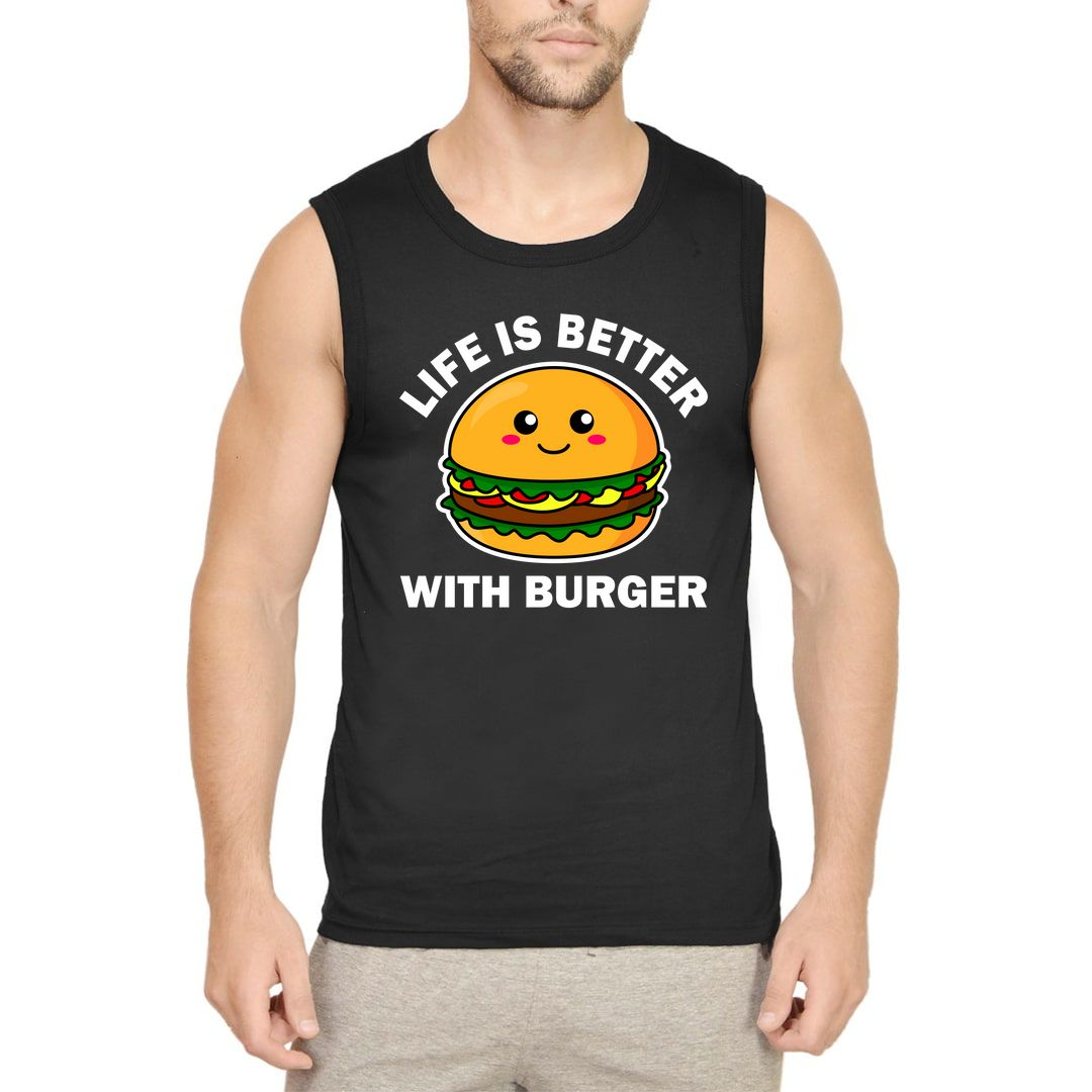 07bc5032 Life Is Better With Burger Men Sleeveless T Shirt Vest Black Front