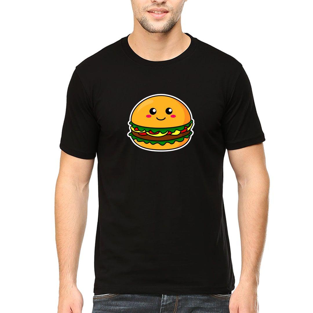 477bd4d0 Kawaii Cute Burger Cartoon Men T Shirt Black Front