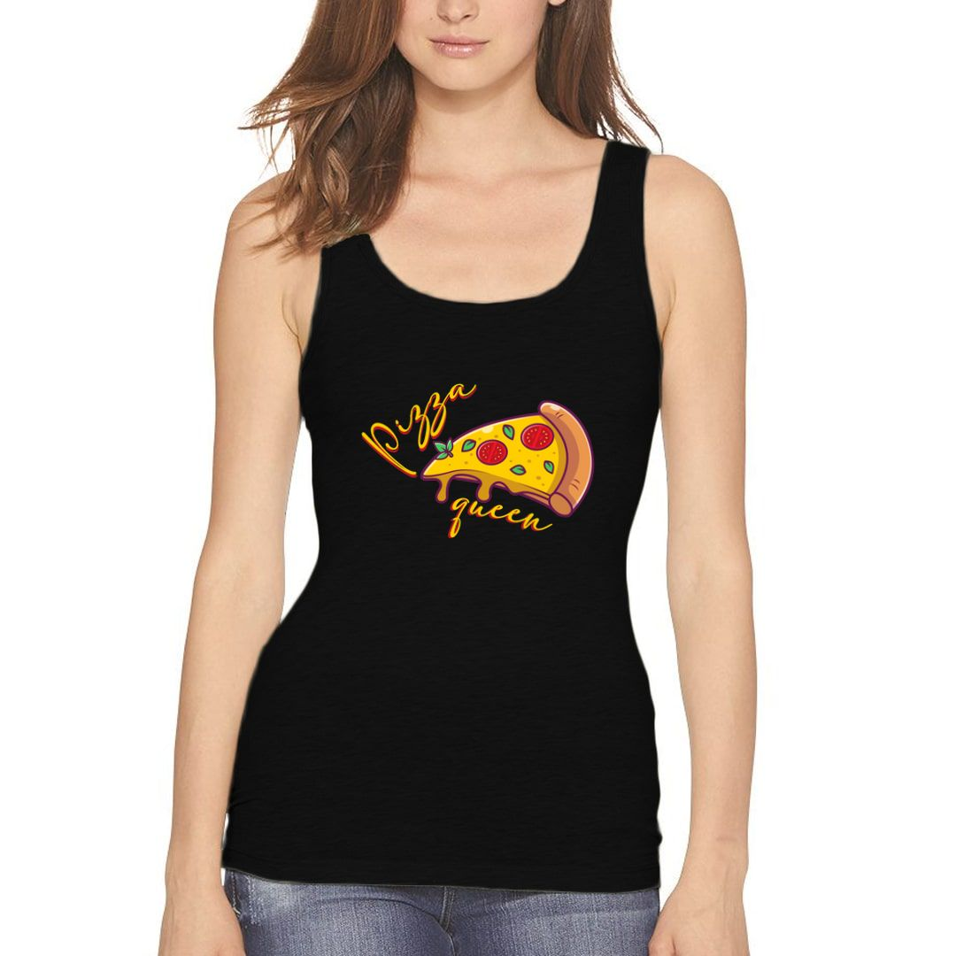 4ab6b494 Pizza Queen For Foddies Pizza Lovers Women Tank Top Black Front