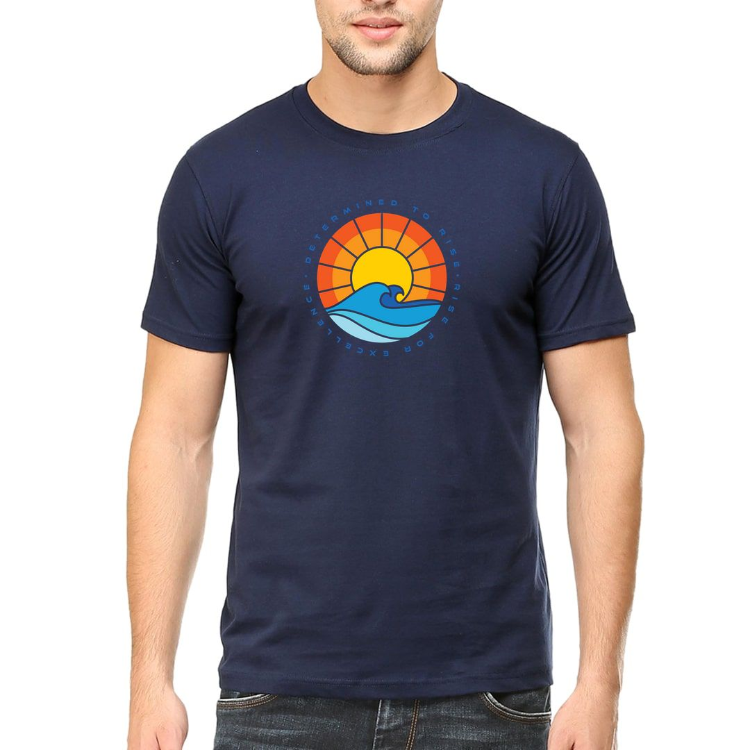 55217f7c Determined To Rise Rise For Excellence Men T Shirt Navy Front