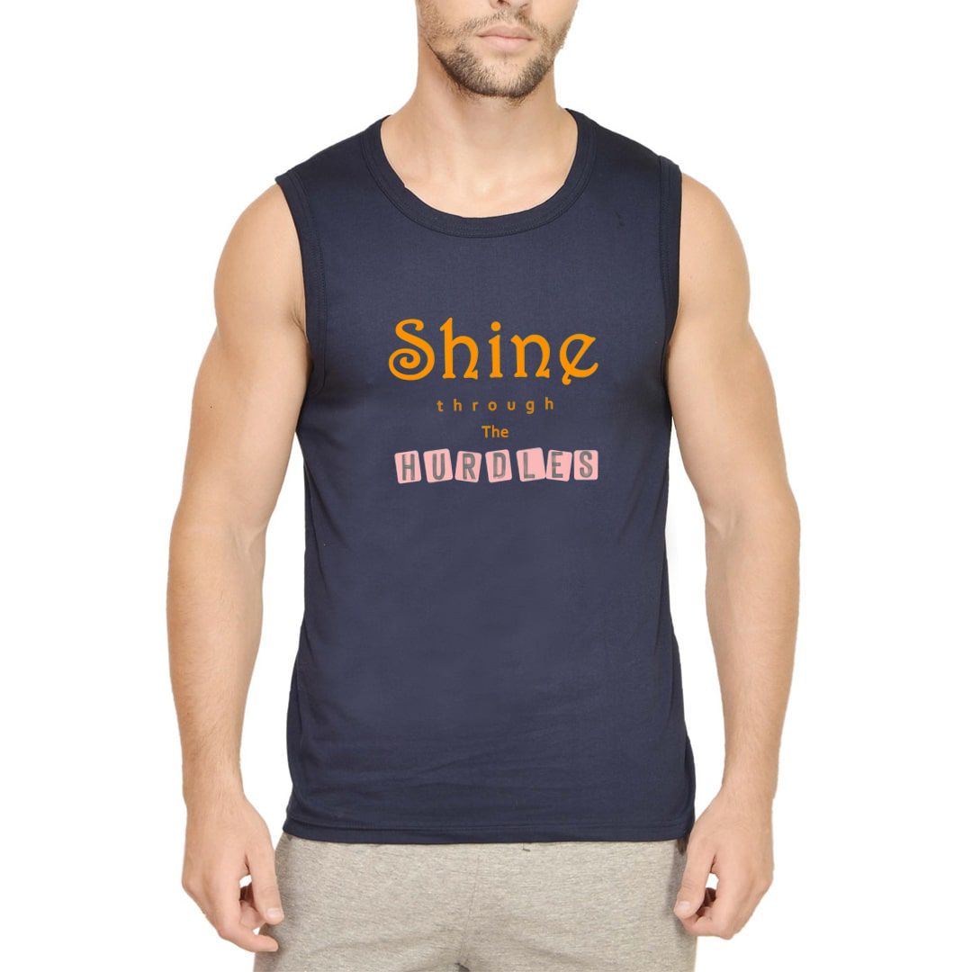 604f08e9 Shine Through The Hurdles Slogan For Inspiration Men Sleeveless T Shirt Vest Navy Front