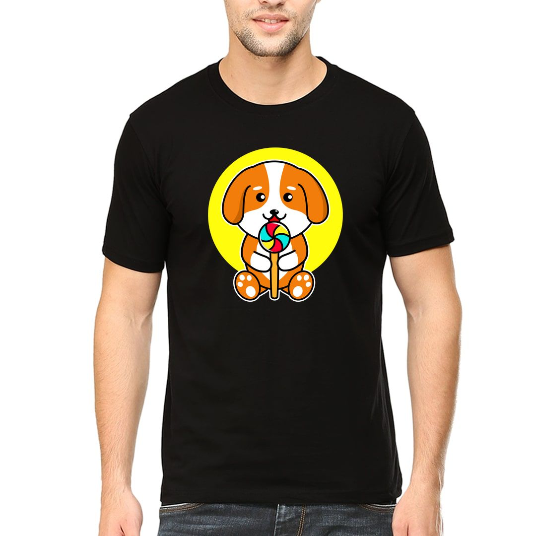 A0898610 Cute Dog Eating Candy Pet Lover Men T Shirt Black Front