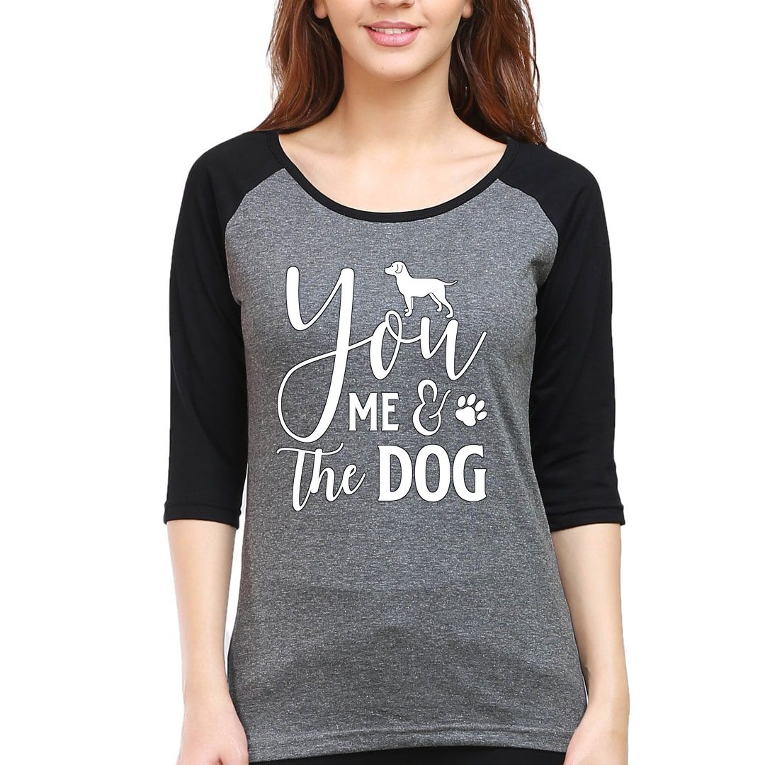 B4a238f0 You Me And The Dog Women Raglan Elbow Sleeve T Shirt Black Charcoal Front