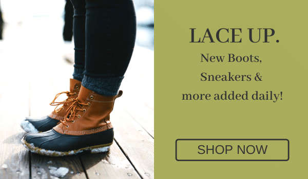 Lace Up. New boots, sneakers, & more added daily! [Shop Now]