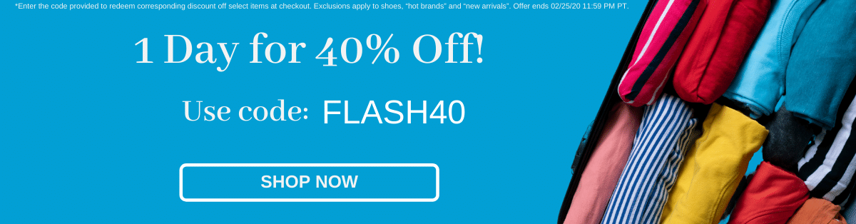 1 day for 40% off! Use code: FLASH40