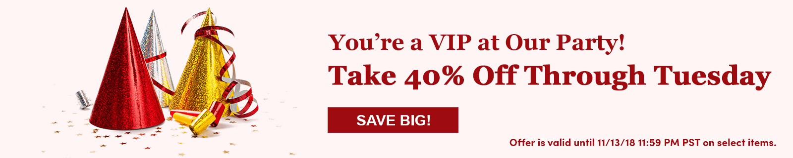 You're a VIP at Our Party! Take 40% Off Through Tuesday SAVE BIG