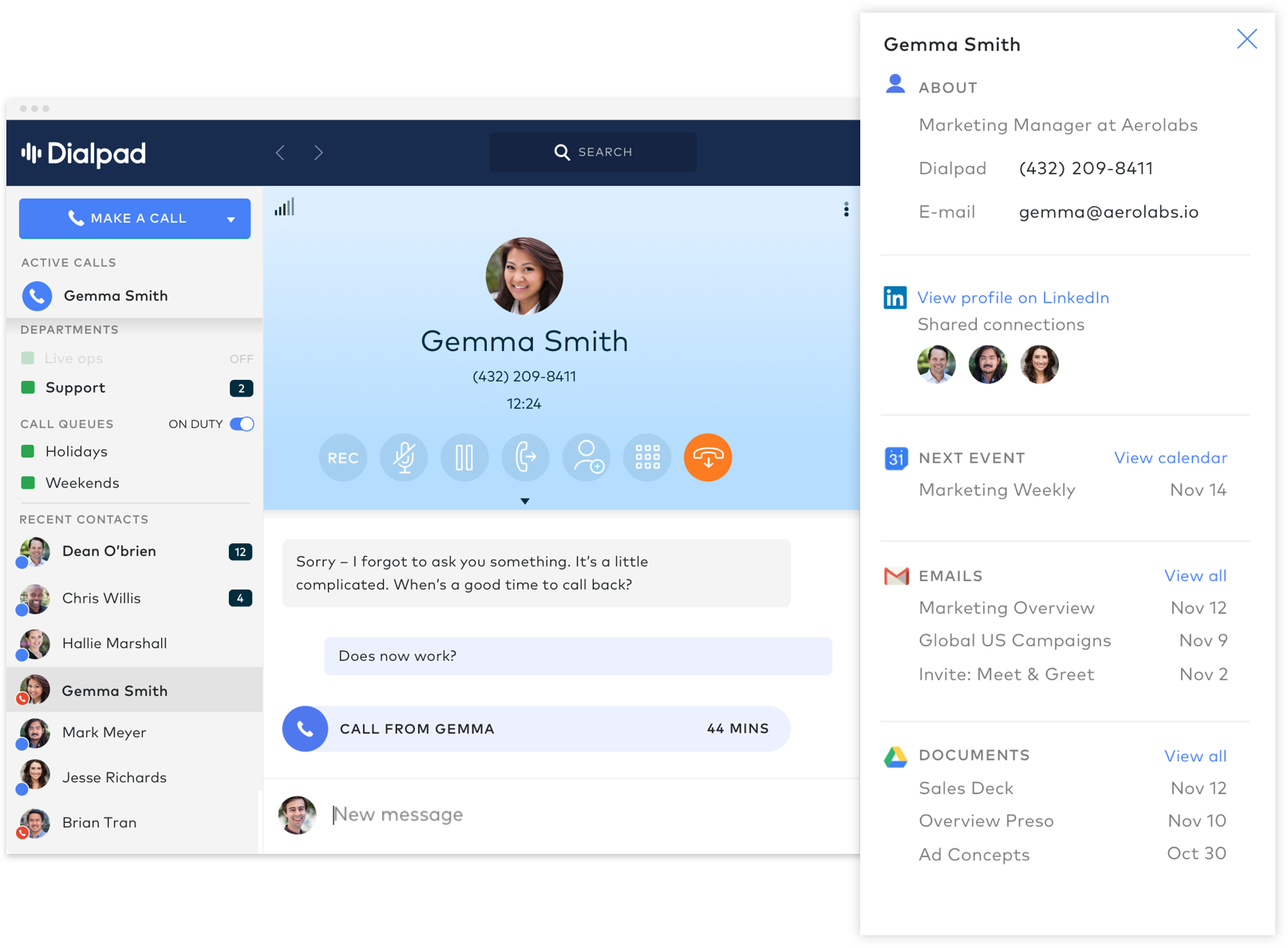The only business phone system natively integrated with G Suite