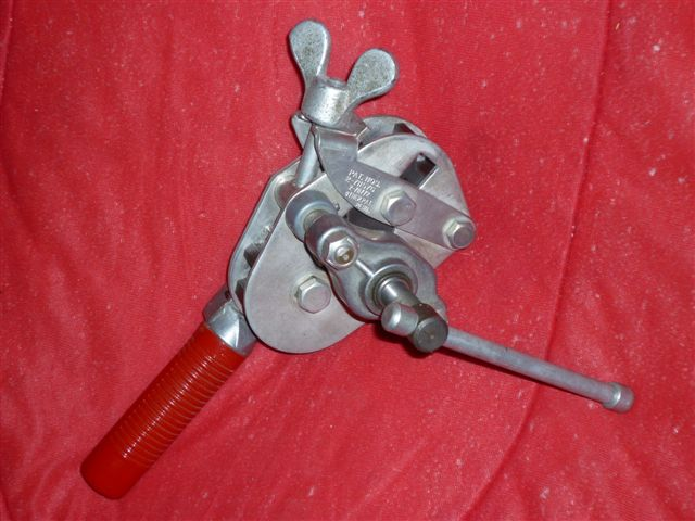 Tool used to put a flared end on a tube or line