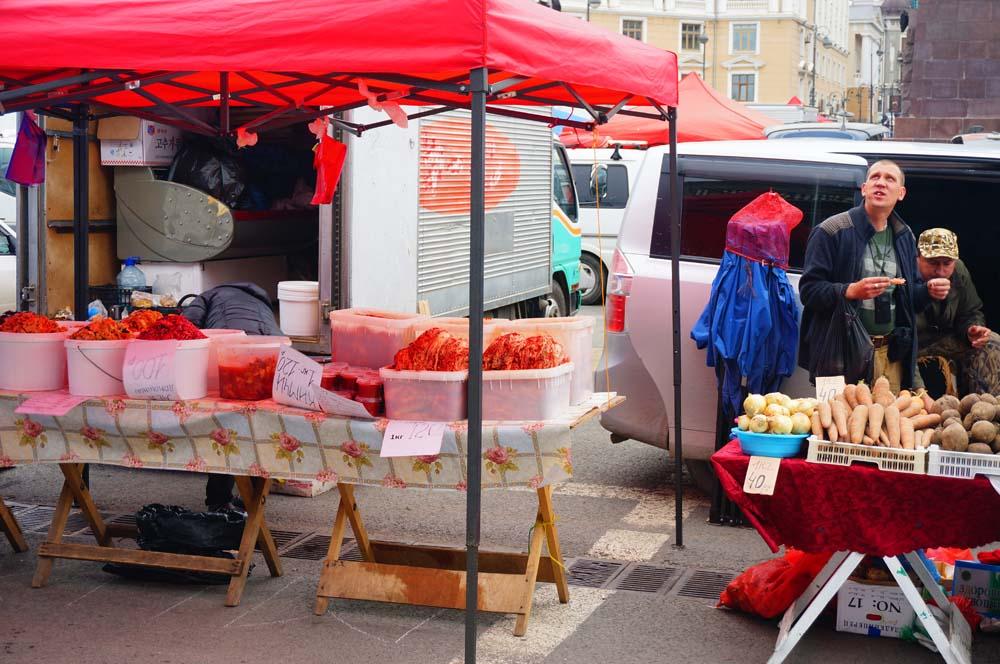 블라디보스톡 시장에 있던 김치 전문점