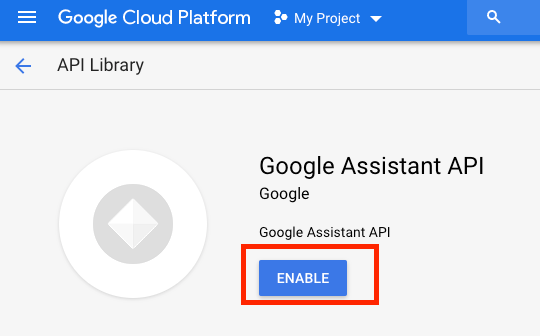Google Assistant API 활성화