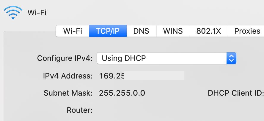 Router (게이트웨이) 주소가 공백으로 설정 되어있다.