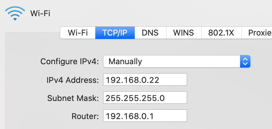 IP를 수동으로 설정한 예시