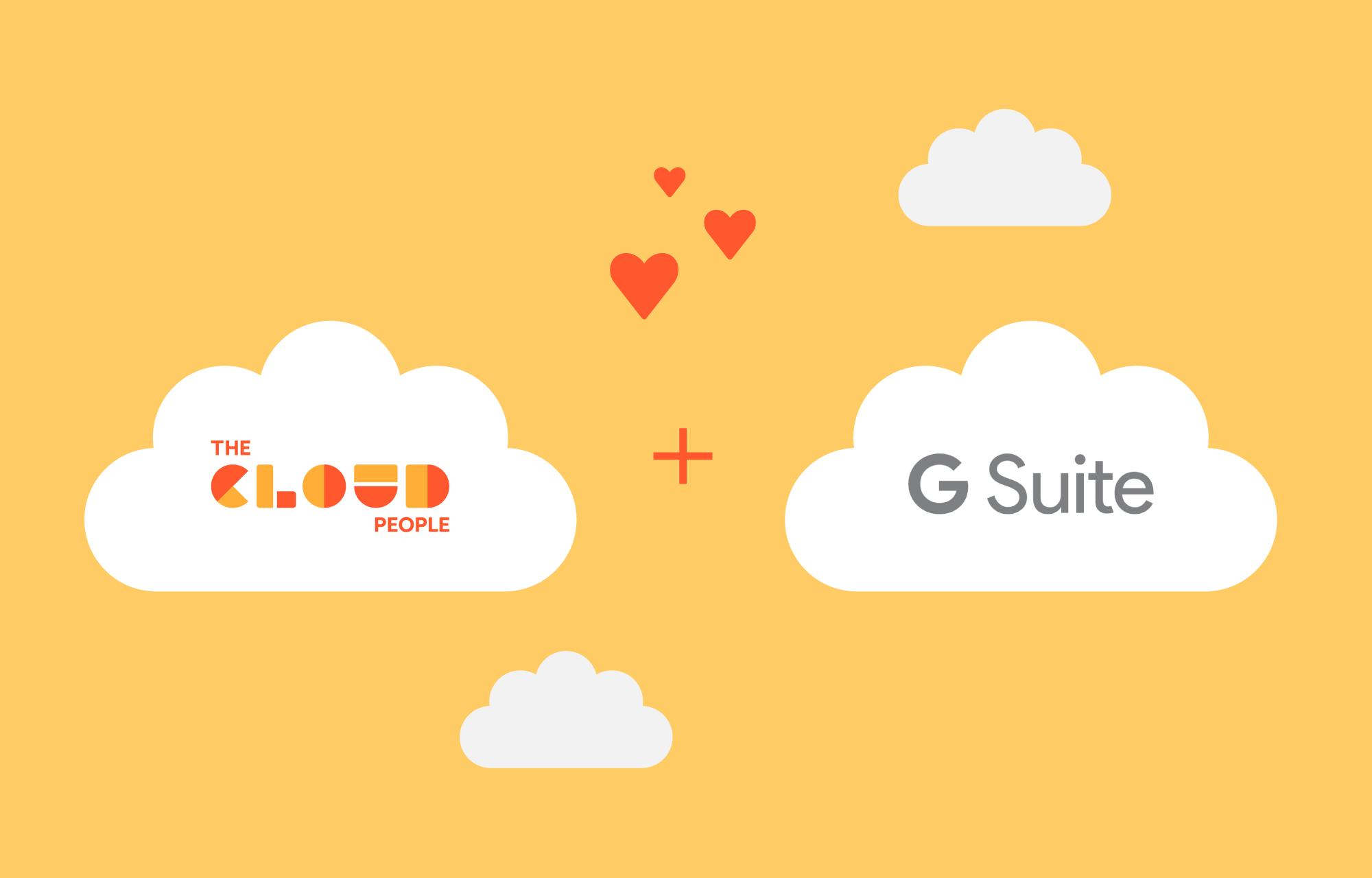 The Cloud Peoples logo og G Suite-logoen med hjerter imellom.