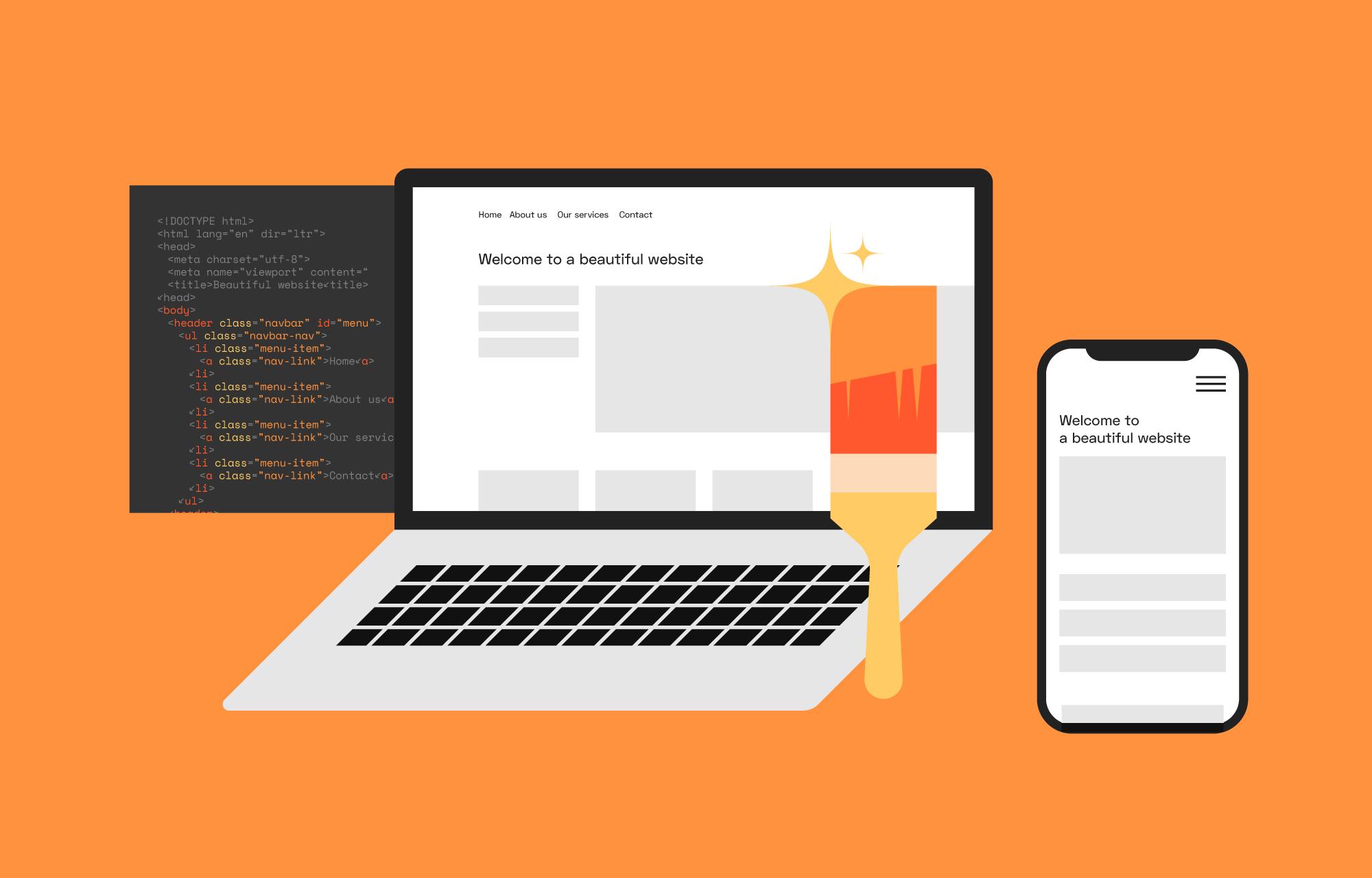 Laptop og mobil som viser skisser av en nettside.