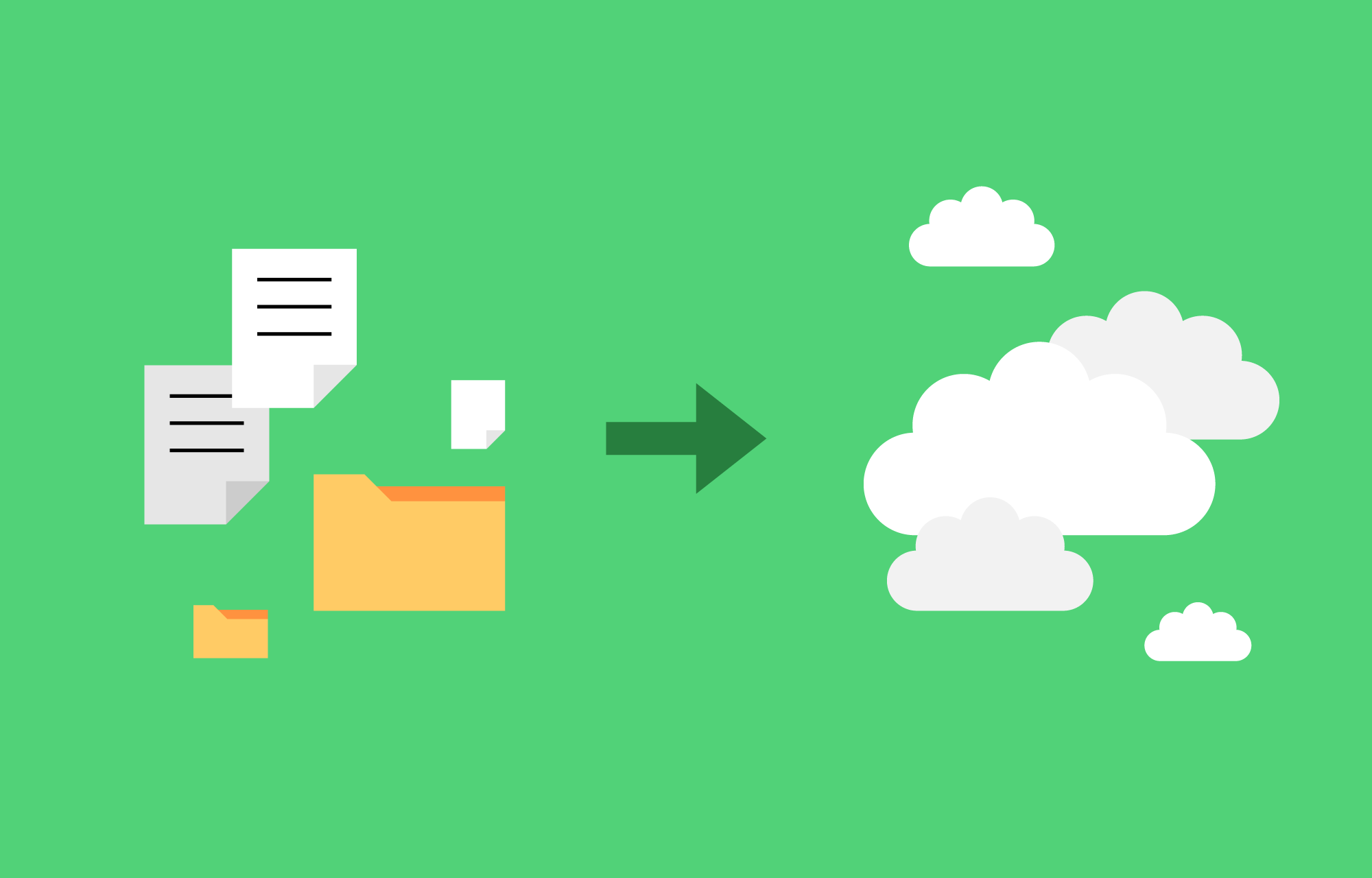 Dokumenter og mapper og en pil som peker mot skyer.