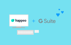 Happeo logo inside a computer screen next to G Suite logo with hearts above.