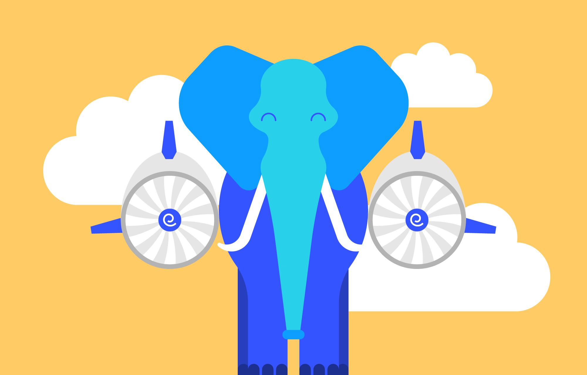 Front view of elephant with jet engines attached to each side.