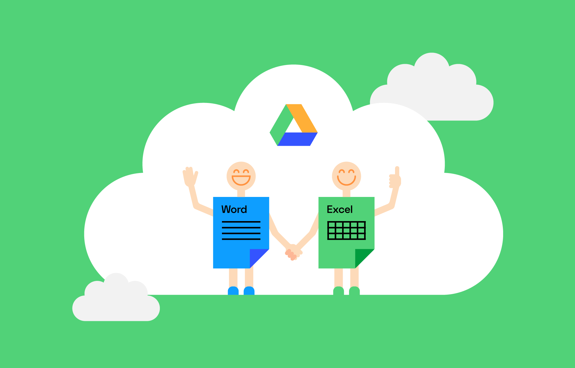 Word and Excel illustrated as people holding hands inside a Google Drive cloud.