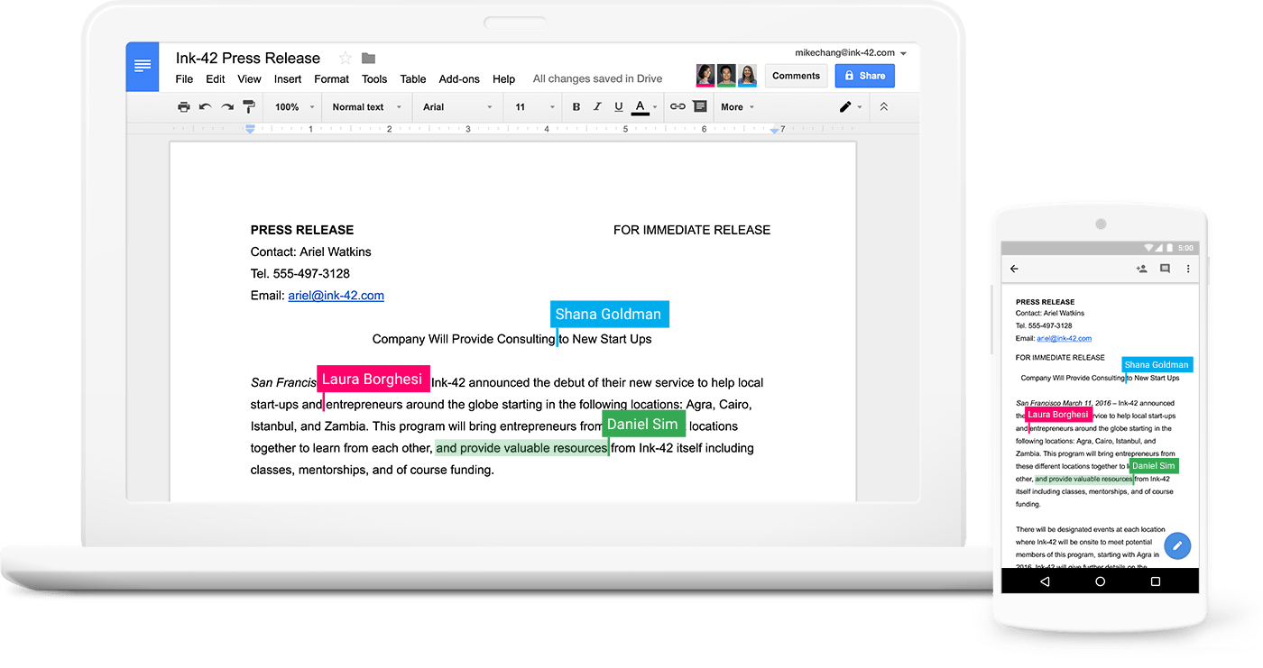 A laptop and a phone displaying collaboration between three people in Google Docs.