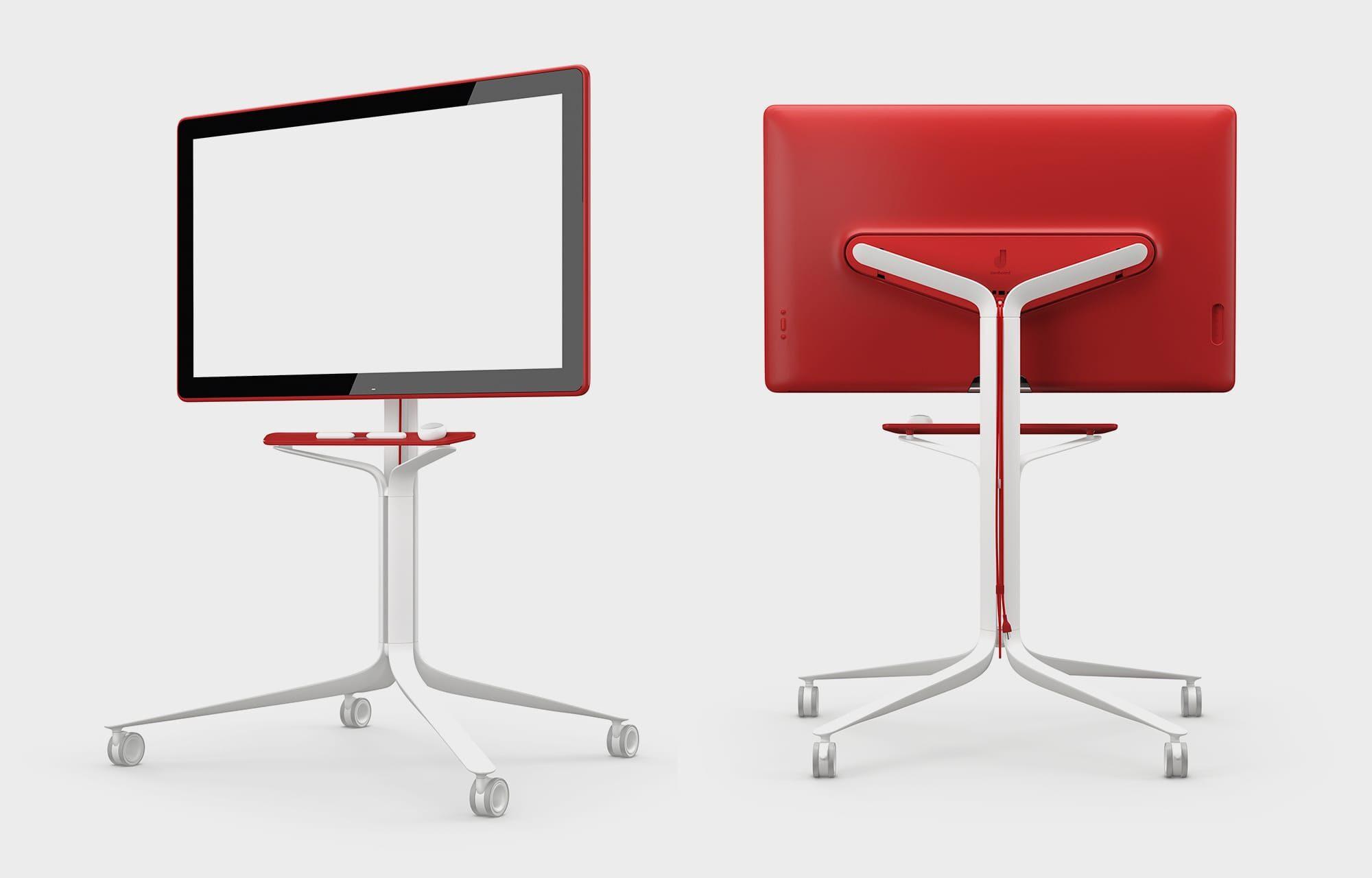 Front- og bakside av en rød Jamboard-modell.