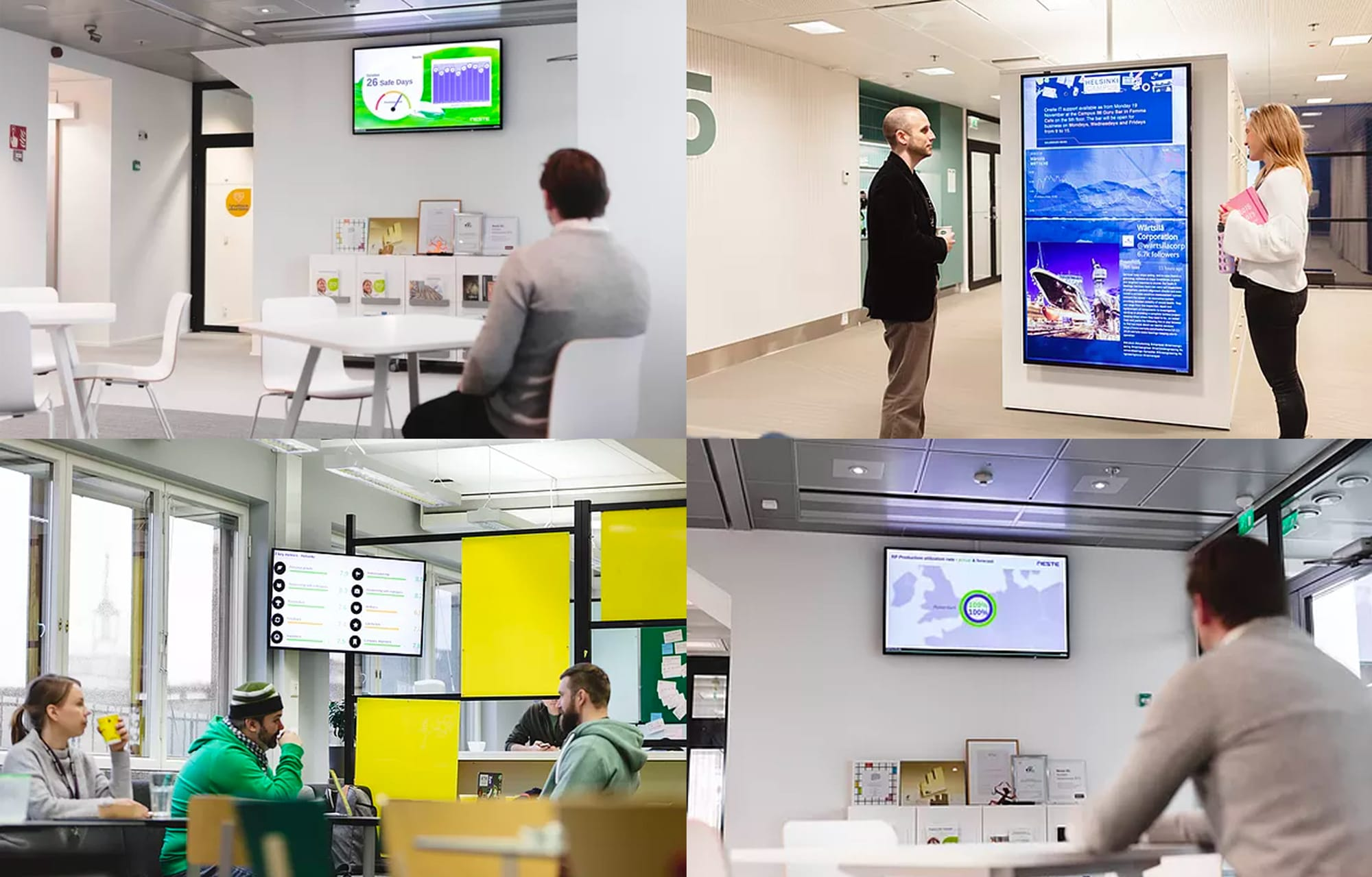 Four panel view of digital signage in different rooms of the workplace.