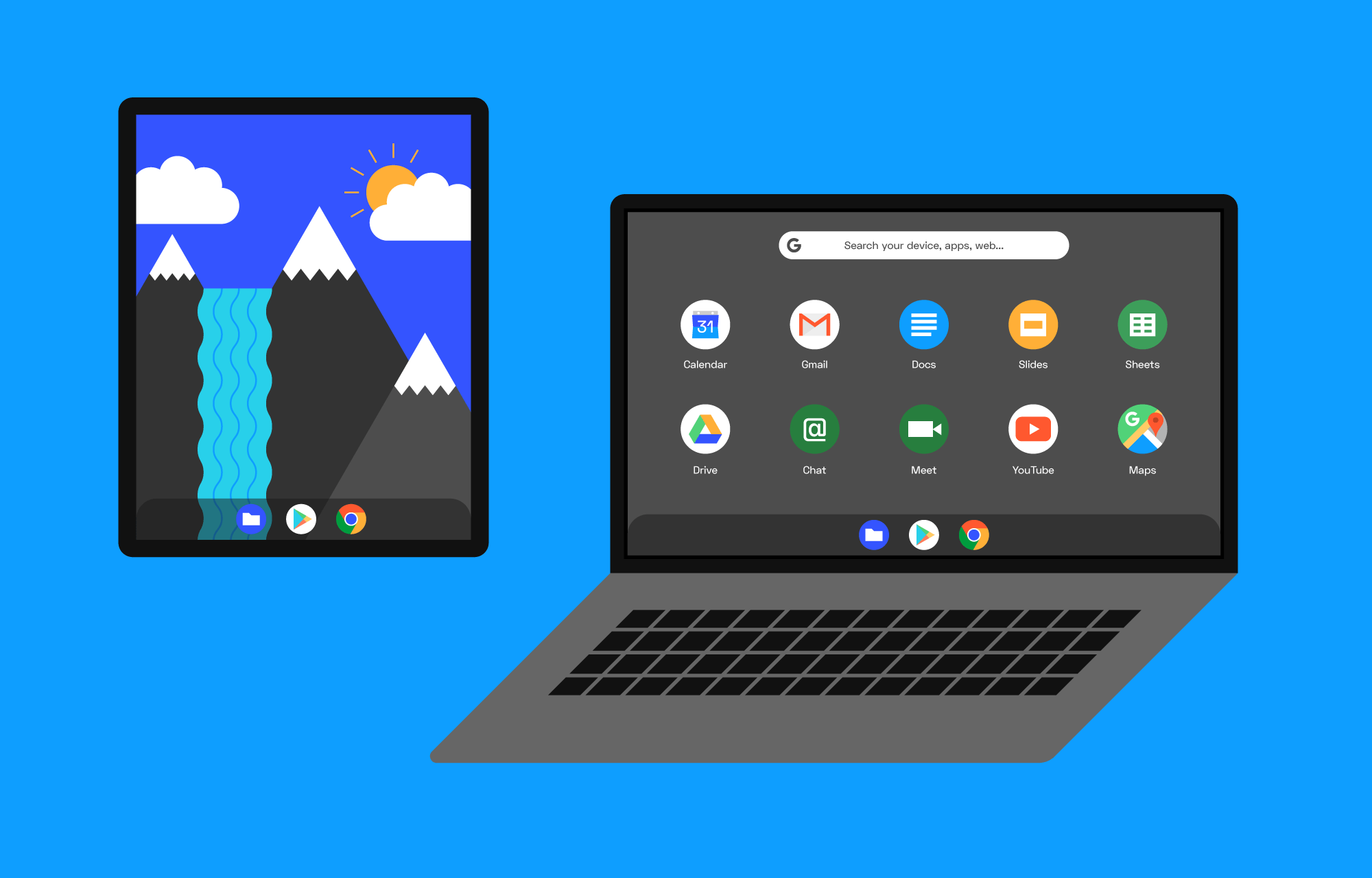 Et Chromebook-nettbrett og en Chromebook-laptop med G Suite-apper.