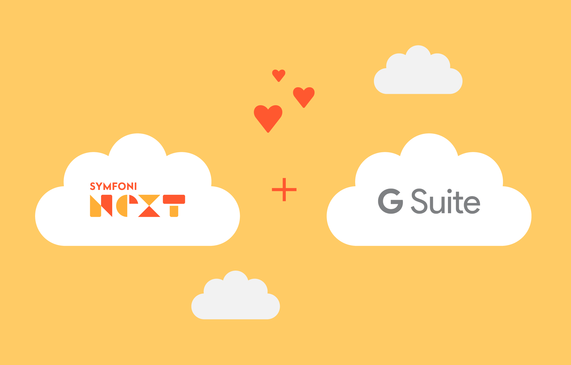 Symfoni Next logo and G Suite logo with hearts between them.