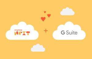 Symfoni Nexts logo og G Suites logo med hjerter mellom.