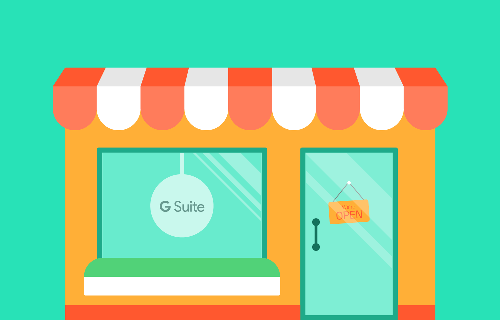 G Suite logo in a resellers shopping window