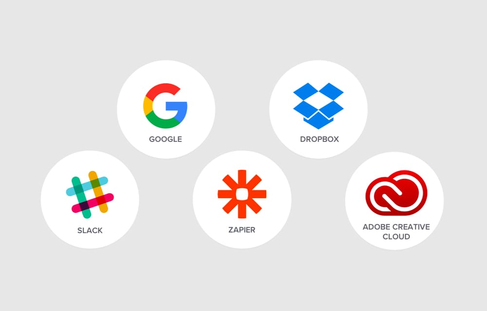 Logoer for appen Google, Dropbox, Slack, Zapier og Adobe Creative Cloud.
