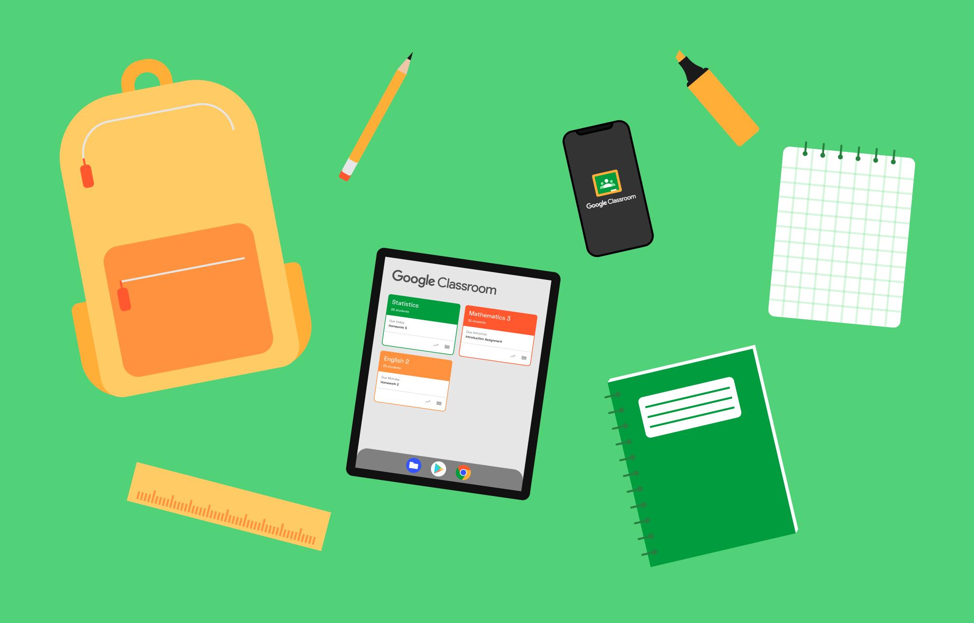 Skolesaker og Google Classroom på et nettbrett og en telefon.