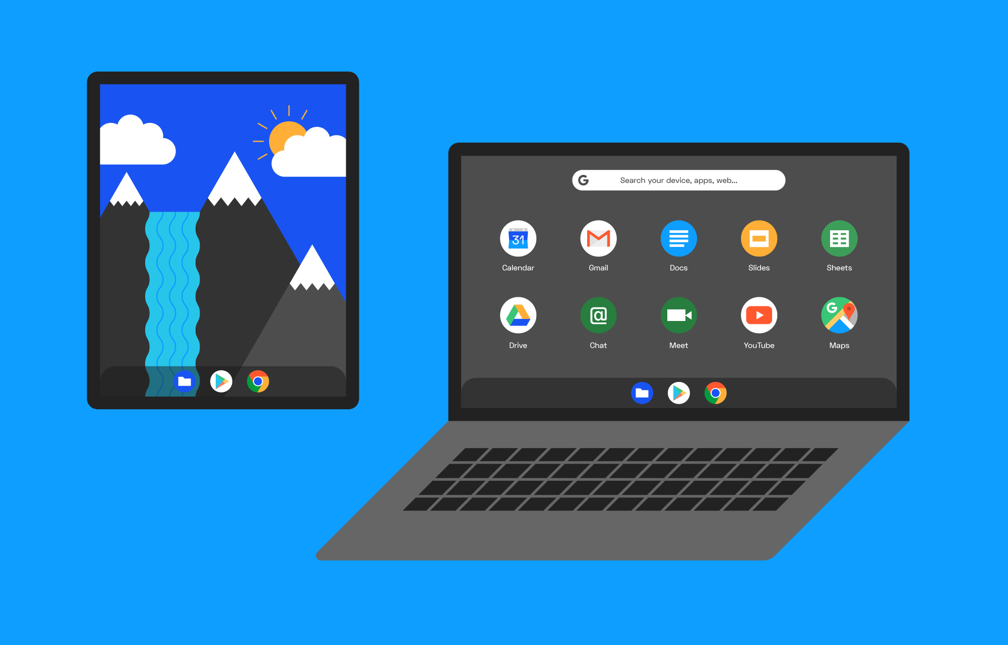 A Chromebook and a tablet running Chrome OS.
