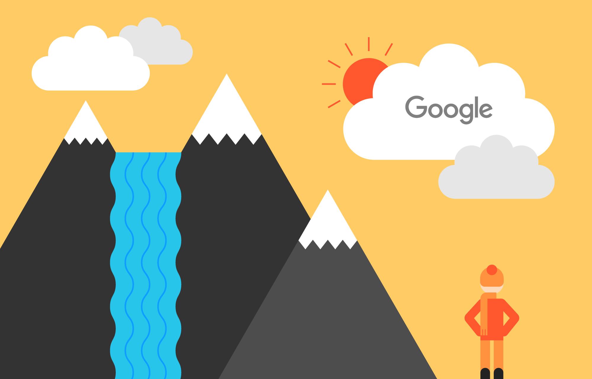 Mann ved siden av høye fjell og en foss under en solrik himmel.