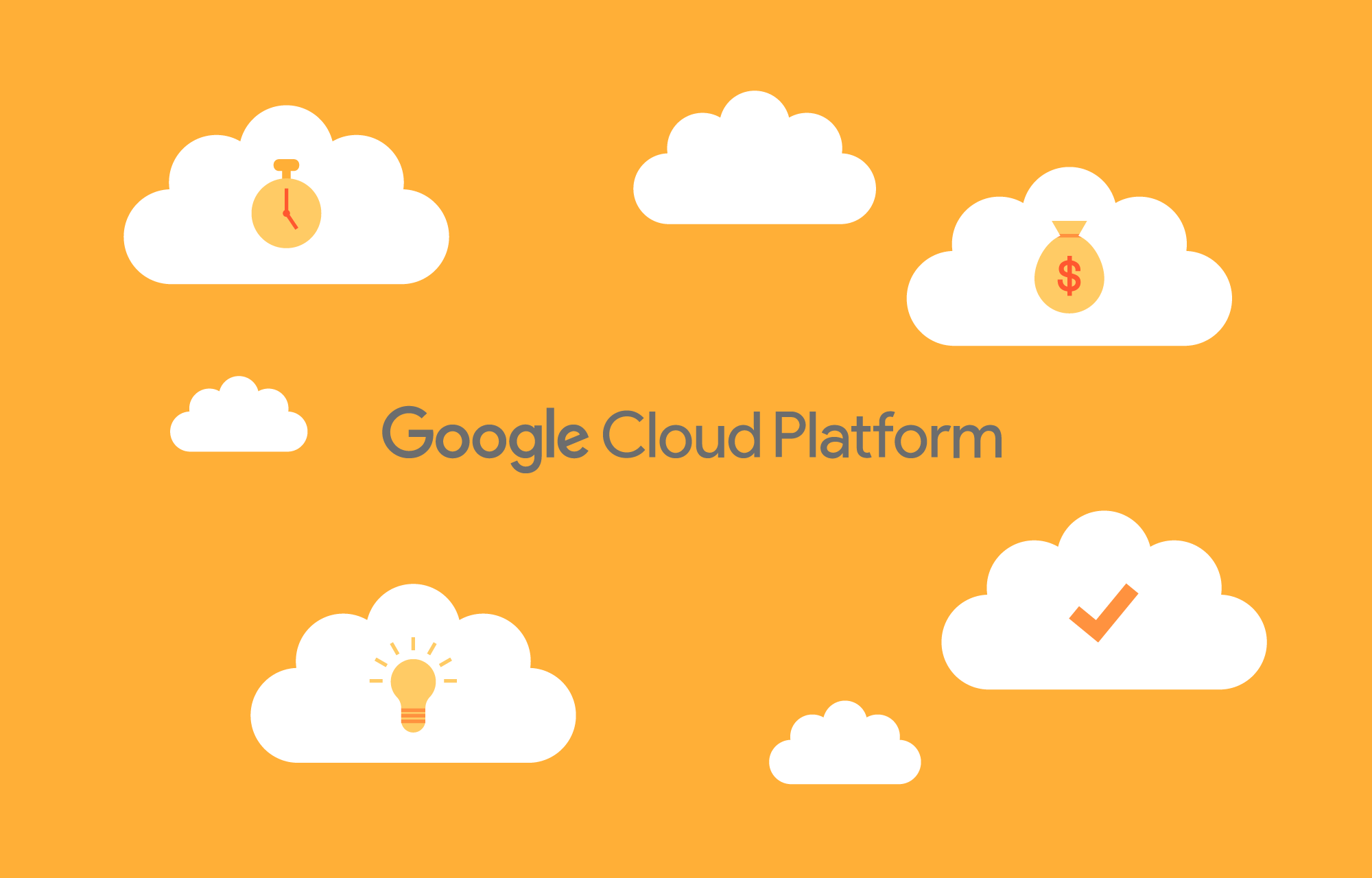 Google Cloud Platforms logo omringet av skyer.