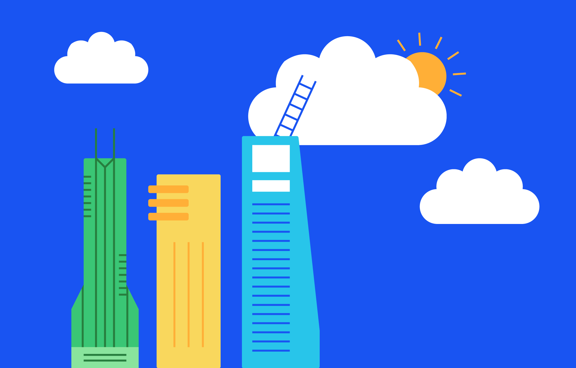 Tre skyskrapere foran en blå himmel med skyer og sol.
