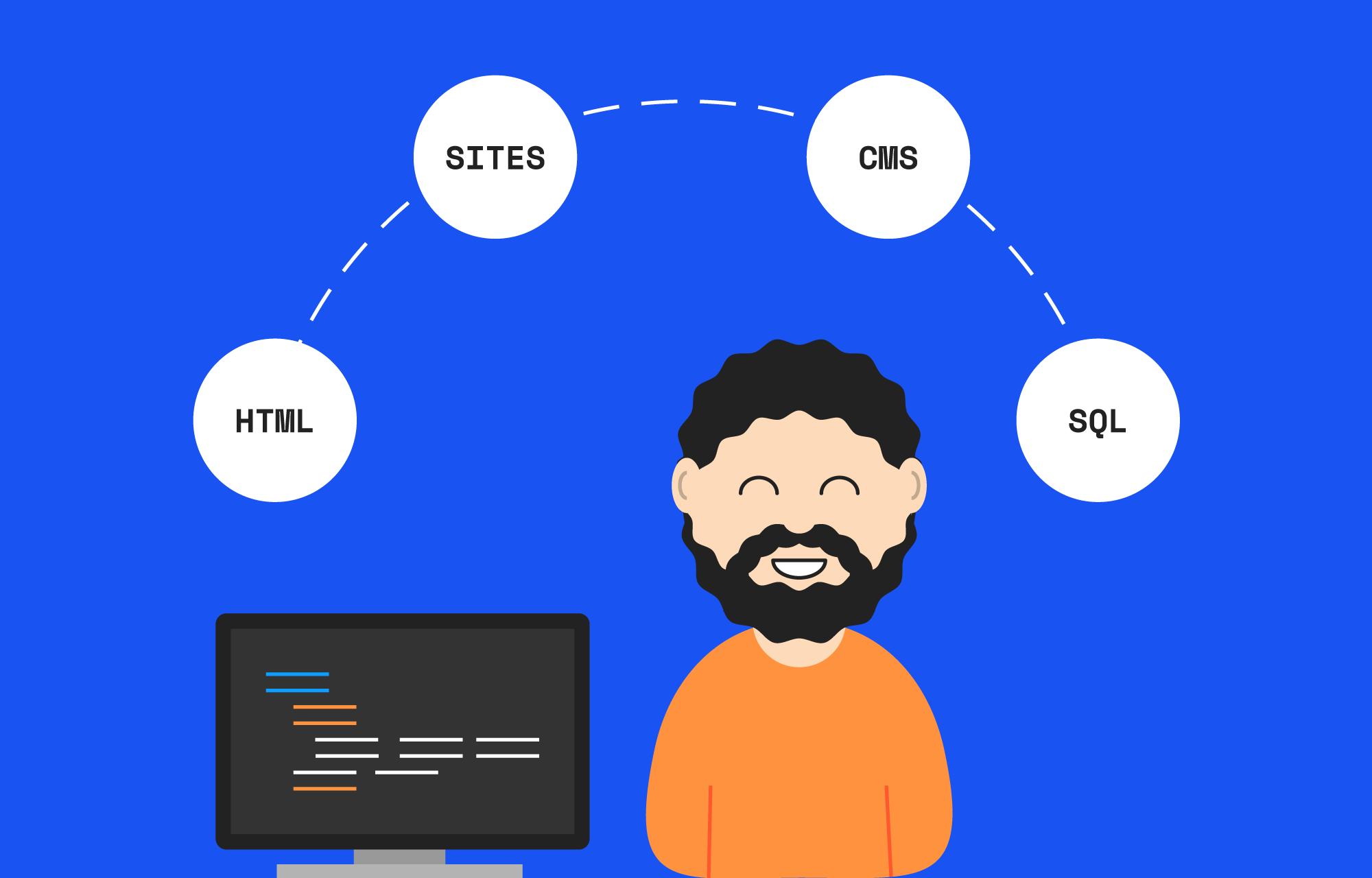 Webutvikler ved siden av en laptop som viser linjer med kode.